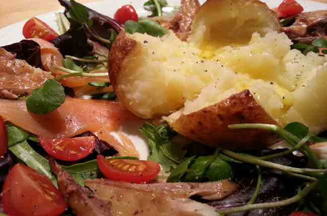 Baked Potato and smoked fish Salad