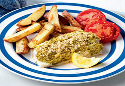 Lemony fish with herby chips
