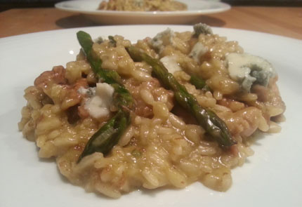Asparagus Risotto with Walnuts and Dolcelatte