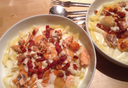 Salmon Carbonara Pasta with Prawns and Scallops